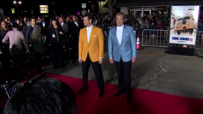 Los Angeles, CA - November 03,2014: Jim Carrey and Jeff Daniels at Dumb and Dumber To Premiere, Village Theatre