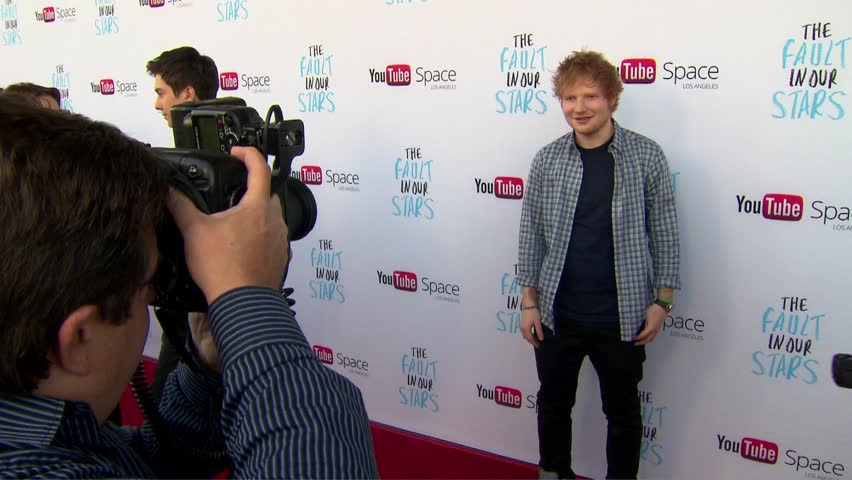 Los Angeles, CA - May 14,2014: Ed Sheeran at The Fault In Our Stars Live Stream Event, YouTube Space LA
