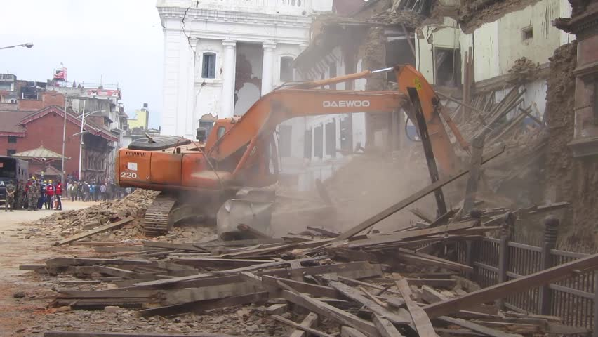 KATHMANDU, NEPAL - APRIL 26, 2015: Military forces starts the rescue effort at Durbar Square which is severely damaged after the major earthquake on 25 April 2015. - HD stock video clip