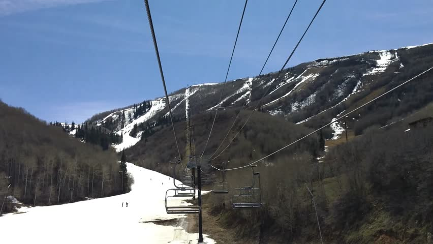 Park City, Utah - April, 2015 - Going up a ski lift in ultra high definition (UHD).