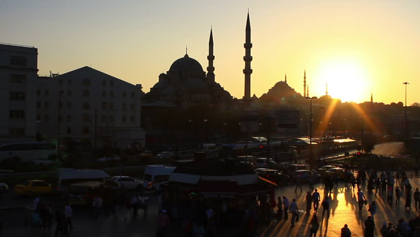Commuters on their way home from work during sunset in Istanbul City