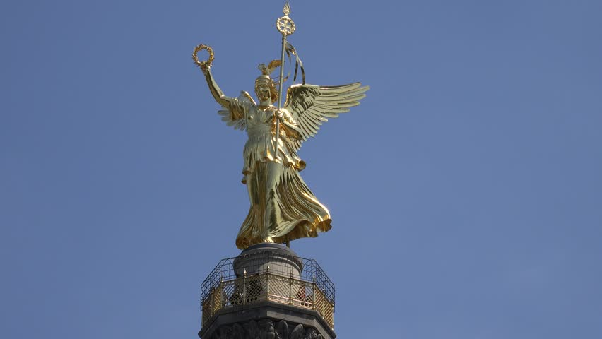 ULTRA HD 4K Closeup of tourist people visit Victory Column, Berlin landmark by day - 4K stock video clip