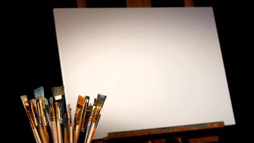 Painting Canvas And Easel