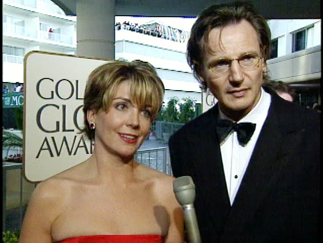 Beverly Hills, CA - January 19,1997: Natasha Richardson and Liam Neeson at Golden Globe Awards 1997, Beverly Hilton Hotel - SD stock video clip