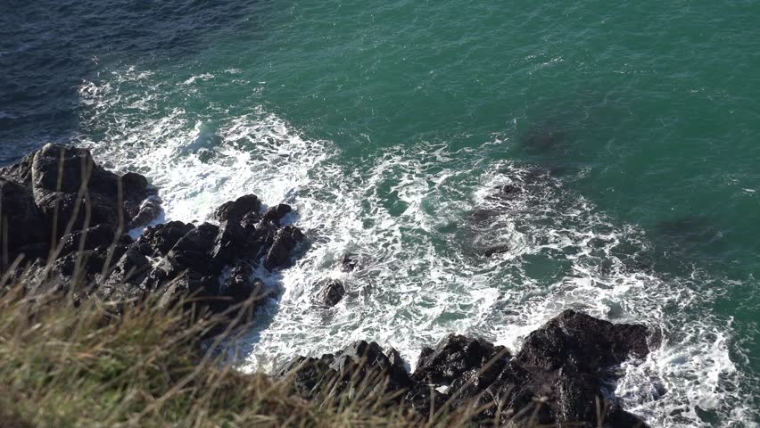 Waves breaking at Botallack - Cornwall - England - 4K stock footage clip