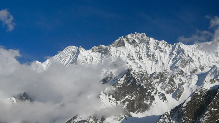 Timelapse of snowy mountains. Nepal, Himalayas