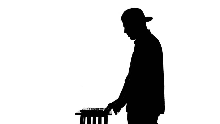 Black Silhouette Of DJ Mixing Music On A White Background ...