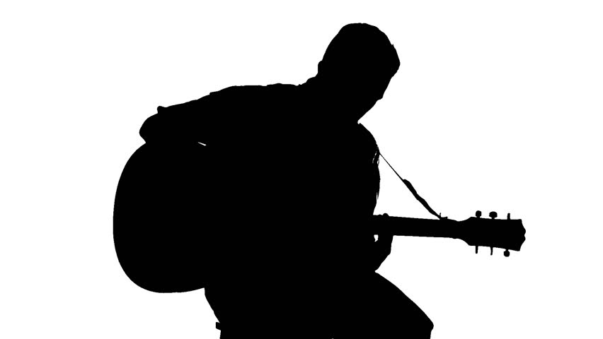 Silhouette Of Sitting Man Playing The Guitar On White
