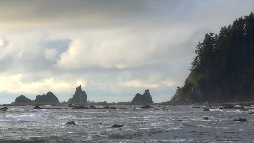 Rock formation at Rialto Beach, Olympic National Park, Washington State, USA