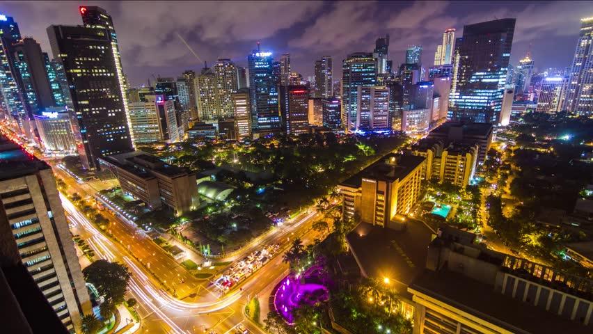 Timelapse of Makati City, Manila, Philippines by Night