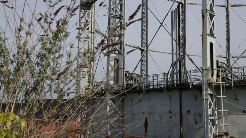 gas holder detail - HD stock footage clip