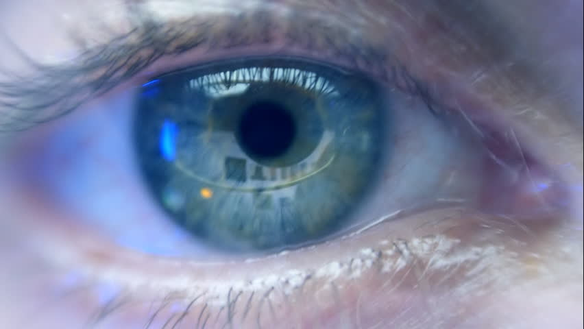 Reflection in the eye of the monitor screen when you surfing the Internet and search smart phone. Search engine in market. Extreme closeup | Shutterstock HD Video #9942206