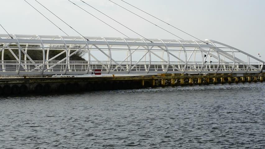 Swing bridge in the harbor of Ustka, Poland - HD stock video clip