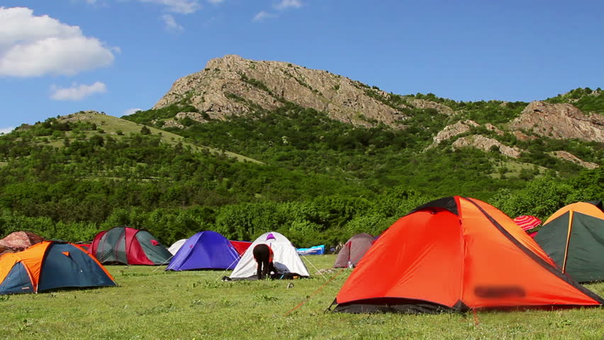 Greci, Romania - 10 May 2015: Ecological tourism festival,campsite.A festival with music, fun and a lot of nature. | Shutterstock HD Video #9973526