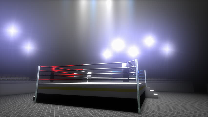 Boxing ring, sport, light, stadium, kickboxing, arena, empty, championship, sport. - 4K stock video clip