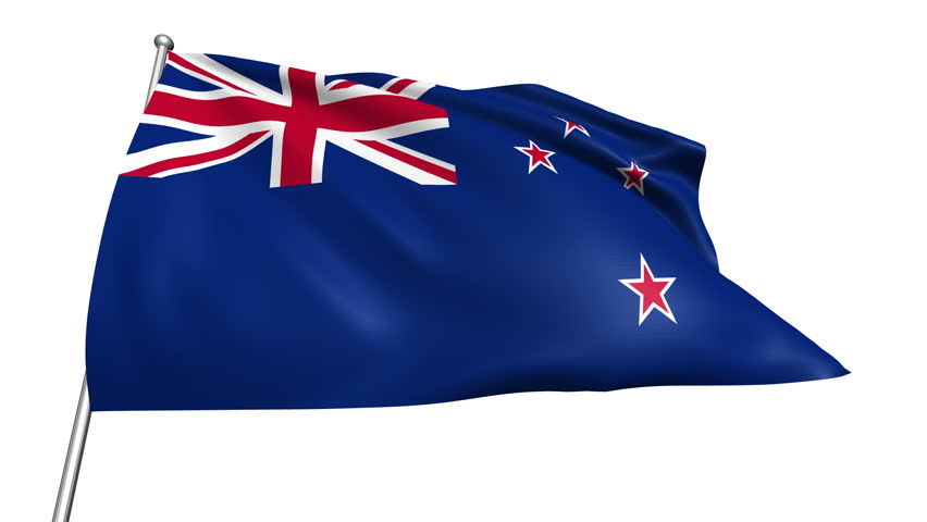 New Zealand flag with fabric structure (4K, loop, with alpha channel)  - 4K stock video clip